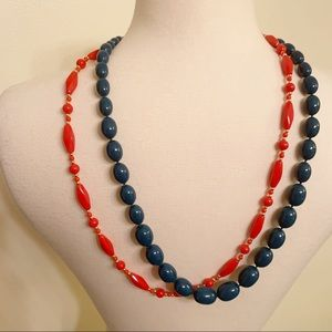 2 costume necklaces red and teal